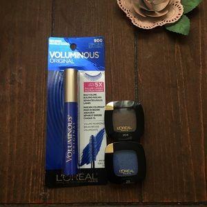 L'Oréal Voluminous Blue Mascara & 2 Eyeshadows
